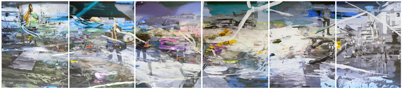 No place left to hide 2012 acrylic on canvas 200 x 900 cm ( polyptych)
