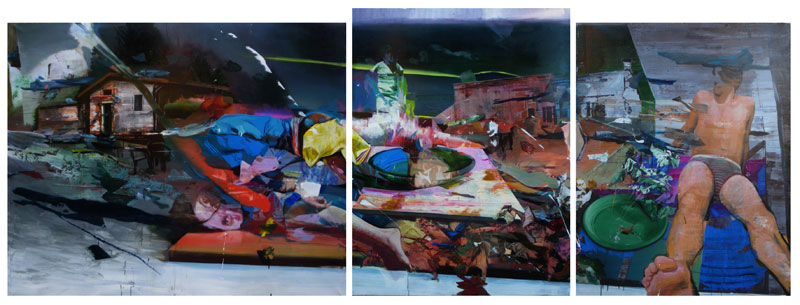 Amalo 2010, Acrylic on canvas, triptych 155x189cm - 161x124cm - 155x120cm