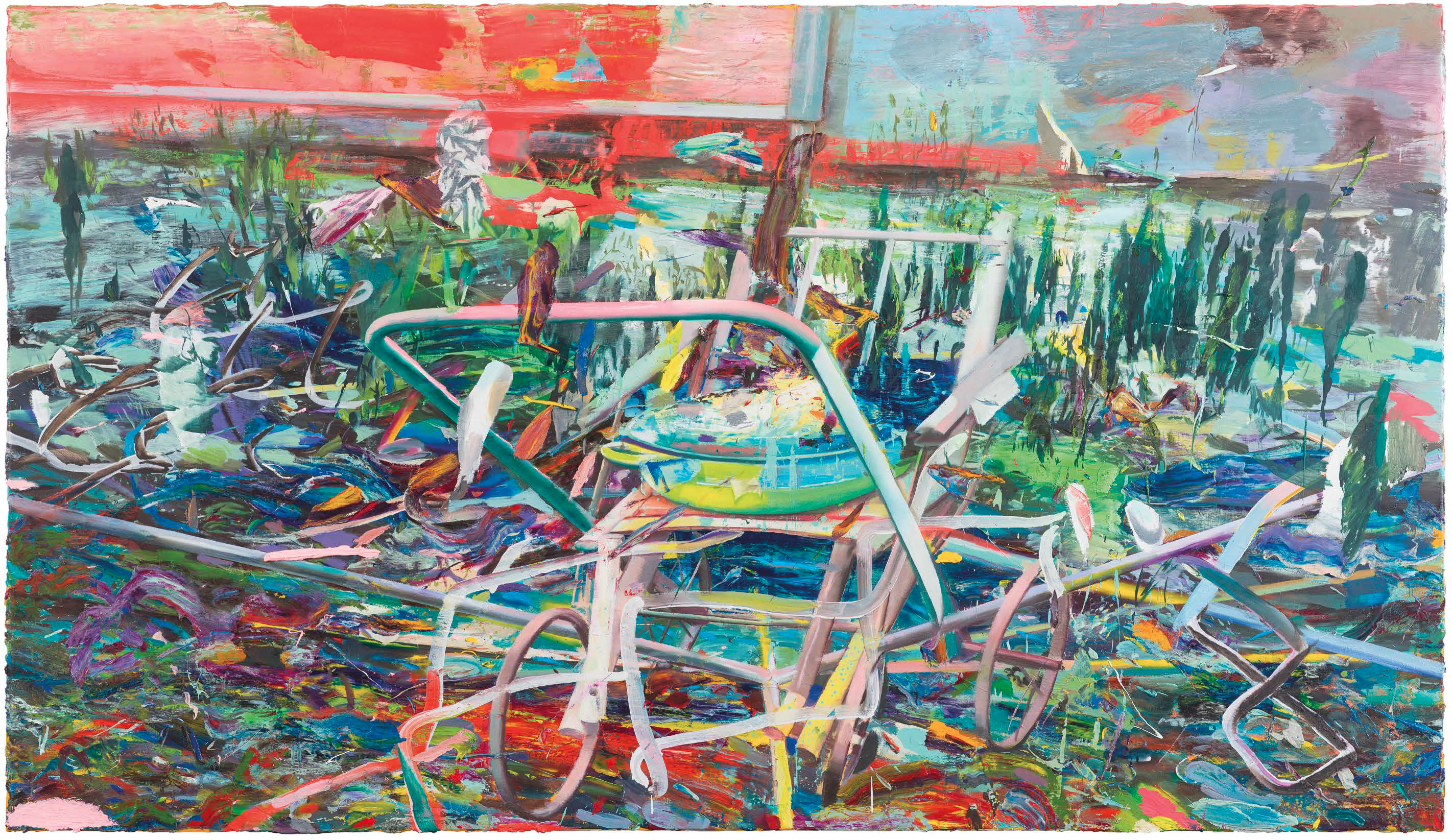 LYING OUT 2015 - 2016 OIL ON CANVAS 133 x 220 cm
